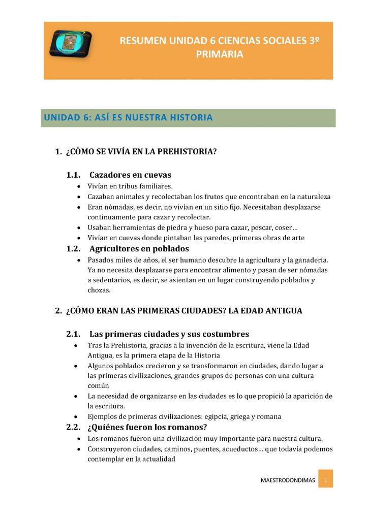 CIENCIAS SOCIALES 3º PRIMARIA SM. RESUMEN UNIDAD 6: Así es nuestra historia