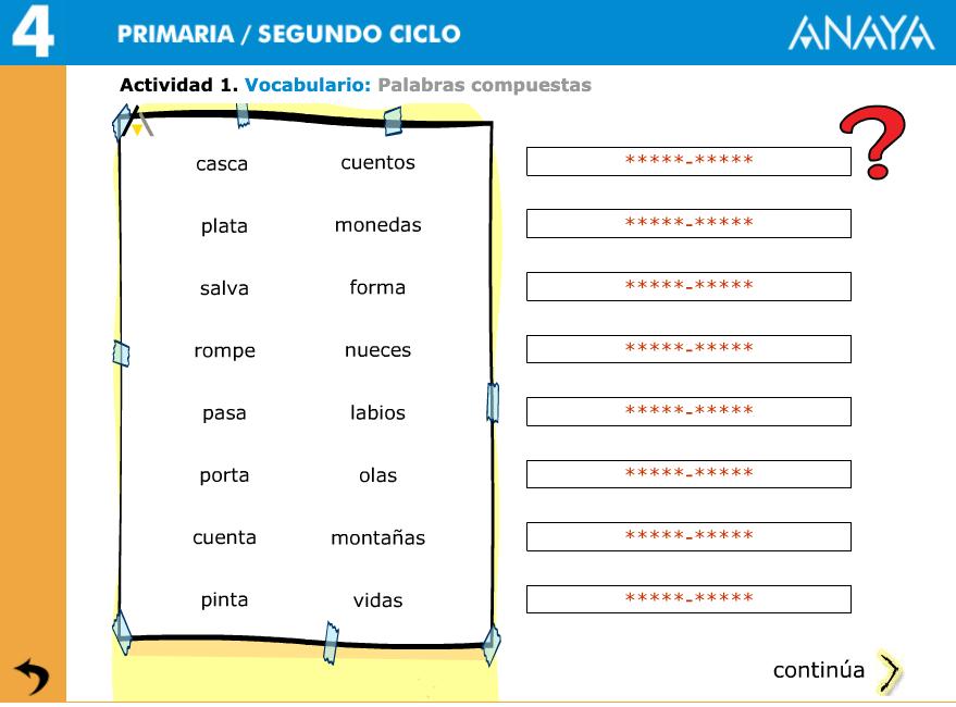 PALABRAS COMPUESTAS. ACTIVIDAD INTERACTIVA 4º PRIMARIA
